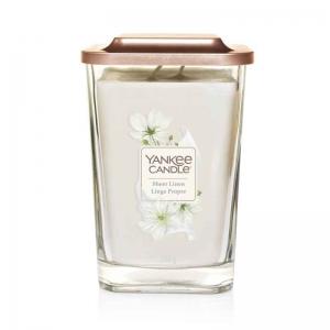 Yankee Candle Sheer Linen – duża kwadratowa świeca z dwoma knotami NOWOŚĆ